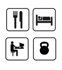 Jíst, spát, počítač, kettlebell